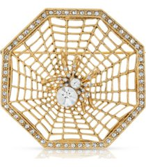 2028 crystal wicked web spider brooch pin