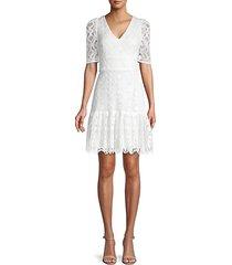 lace cotton-blend mini dress