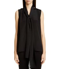 women's st. john collection tie neck stretch silk shell