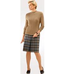rutig kjol mona beige::grå::ljusbrun