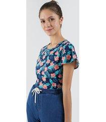 camiseta para mujer flores color azul, talla l