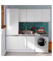 kit área de serviço madesa acordes glamy 100% mdf com armário, balcão e torre branco branco