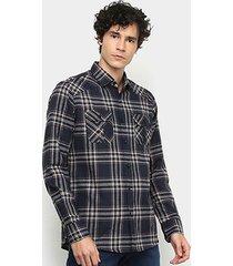 camisa xadrez manga longa forum slim fit masculina