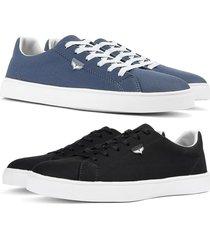 kit 2 pares de sapatãªnis skateboard sapatofran casual azul e preto - azul marinho - masculino - lona - dafiti