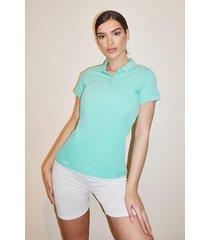 basic polo t-shirt, turquoise