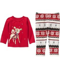gymboree holiday shop reindeer owl top fair isle leggings christmas outfit nwt