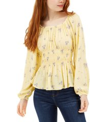 hippie rose juniors' smocked-waist peplum blouse