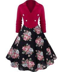plus size high waist ditsy print vintage long sleeve dress
