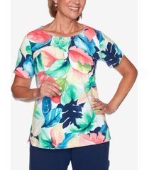 alfred dunner petite island hopping tropical watercolor-print top