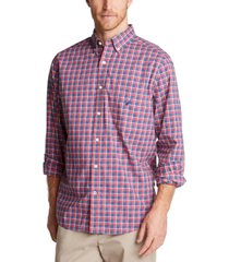 nautica men's classic-fit blue sail casual plaid shirt, created for macy's