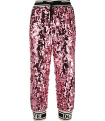 dolce & gabbana sequin track pants - pink