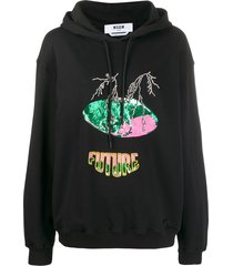 msgm sequin-embellished 'future' hoodie - black