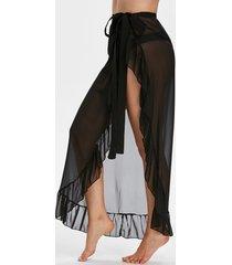 ruffle sheer chiffon sarong