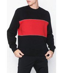 topman black and red panel sweatshirt tröjor black