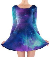 beautiful galaxy longsleeve skater dress