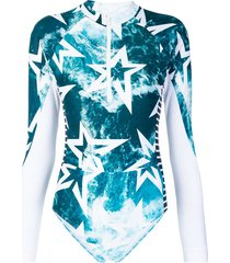 perfect moment star print spring suit - blue