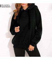 zanzea invierno mujeres sudadera con capucha top suda la camisa de manga larga con capucha del tamaño extra grande -negro