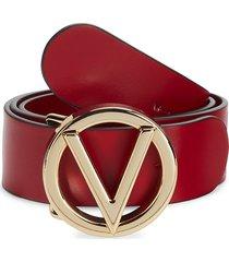 valentino by mario valentino women's bessy logo leather belt - lipstick red - size s