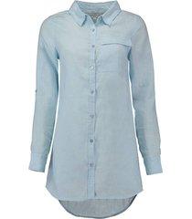 blouse lang linnen lichtblauw