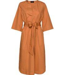 slfcarlotta 3/4 midi kaftan dress b jurk knielengte oranje selected femme