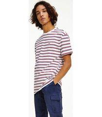 tommy hilfiger men's organic cotton two tone stripe t-shirt deep crimson / multi - s