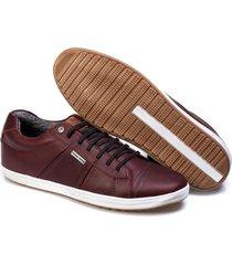 sapatenis couro tchwm shoes masculino autentico confortavel bordô - kanui