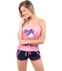 baby doll bella fiore modas pijama gabriela regata rosa