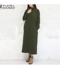zanzea manera de las mujeres de los vestidos maxi ocasional otoño vestido sólido vestidos de manga larga de cuello alto más el tamaño m-5xl kaftan ejército verde -verde