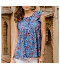 cotton blouse, 'garden bliss' (india)