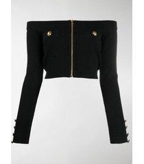 balmain zip-up cropped knit top