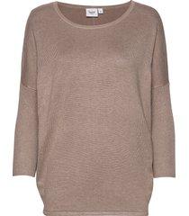 a2561, knit blouse w rib sl stickad tröja beige saint tropez