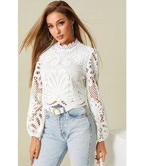 blusa de manga larga con cierre de cremallera en la espalda de diseño hueco blanco
