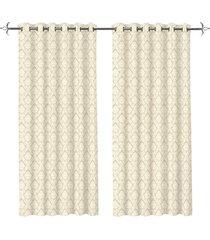 cortina em poliéster com ilhos em metal mystic bege 400x230cm