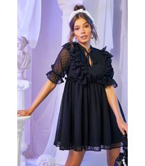 dobby chiffon met strik met franjes detail jurk, zwart