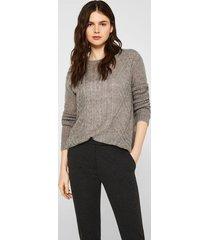 sweater textura con lana y alpaca gris esprit