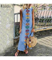 vestido largo sin mangas zanzea para mujer-azul