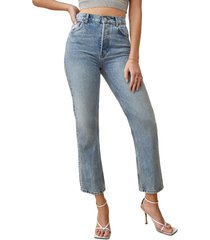 women's reformation cynthia high waist relaxed jeans, size 27 - blue