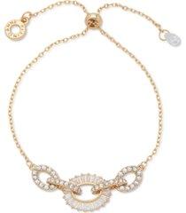 anne klein gold-tone baguette crystal slider bracelet
