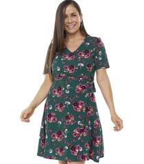 vestido cruzado botones verde flores mujer corona