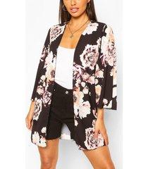 floral print wide sleeve kimono, black