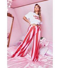 geweven broek met wijde pijpen met strepen, roze