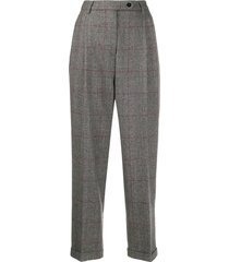 brag-wette glen plaid tailored trousers - grey
