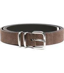 eleventy perforated suede belt - black