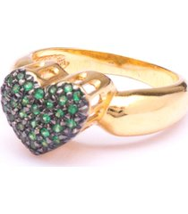 anel boca santa coração de princesa esmeralda - ouro amarelo