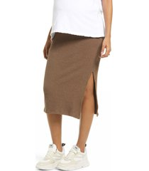 women's topshop ribbed maternity midi skirt, size 8 us - brown