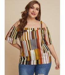 yoins plus talla blusa de media manga con hombros descubiertos y geométrica amarilla
