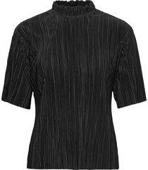 agneta ss top blouses short-sleeved svart moss copenhagen