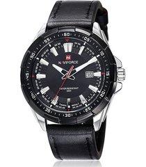 reloj hombre cuarzo pulso cuero fecha naviforce 9056 negro blanco