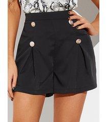 shorts con botones delanteros plisados negros de yoins