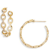 women's sterling forever chain hoop earrings